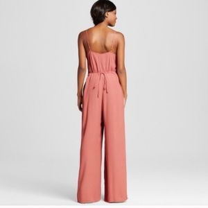 Xhilaration L Pink Lace Wide Leg Flowy Jumpsuit